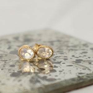 Solid Gold Baroque Moonstone Ear Studs by Joy Everley