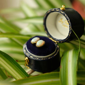Solid Gold Baroque Opal Ear Studs by Joy Everley