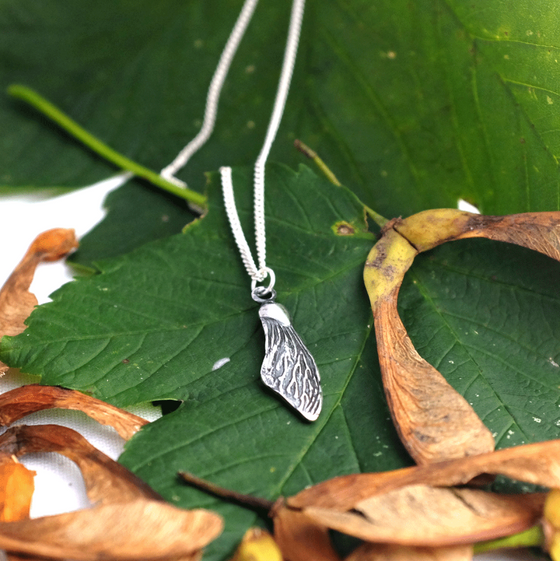 Silver Sycamore Wing Necklace