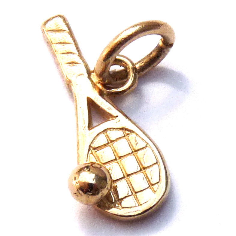 Gold Tennis Racket Charm - Joy Everley Fine Jewellers, London