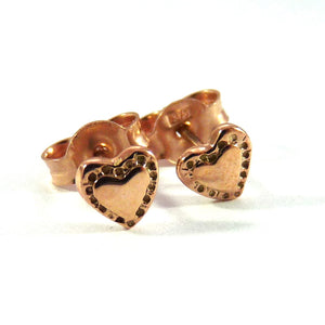 Rose Gold Tiny Tiny Heart Ear Studs - Joy Everley Fine Jewellers, London