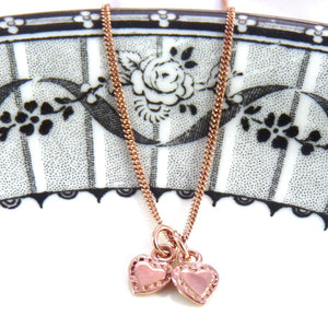 Rose Gold Tiny Tiny Hearts Necklace - Joy Everley Fine Jewellers, London