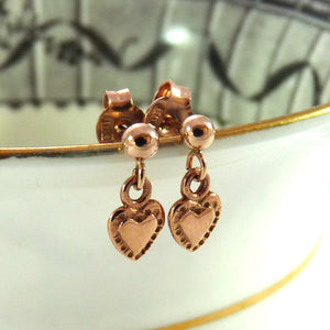 Rose Gold Tiny Tiny Heart Drop Studs - Joy Everley Fine Jewellers, London