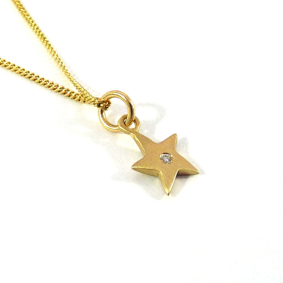Gold Star & Diamond Necklace