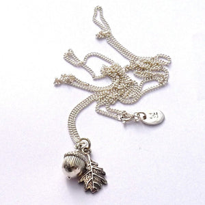 Large Acorn & Dark Oak Leaf Necklace - Joy Everley Fine Jewellers, London