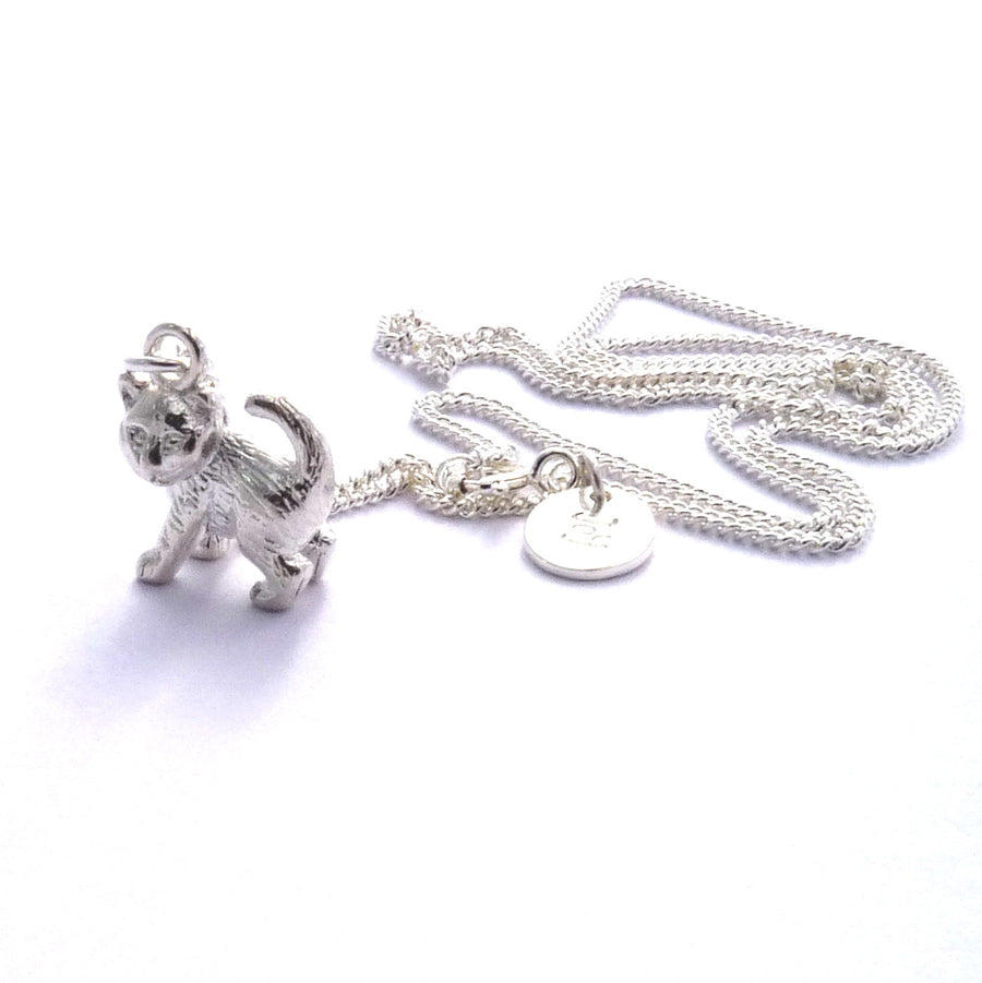 Solid Silver Kitten Necklace or Charm by Joy Everley