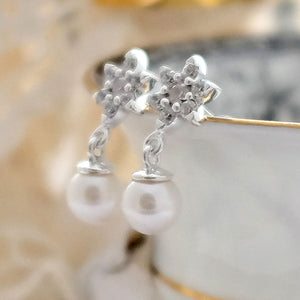 Pearl Crystal Flower Earrings - Joy Everley Fine Jewellers, London