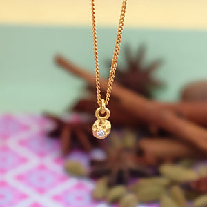 Gold Peppercorn Pendant with Diamond by Joy Everley