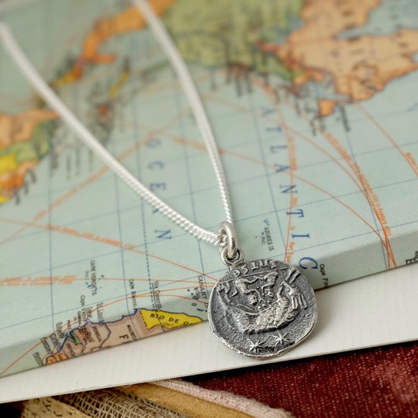 Silver Roman Coin Necklace by Joy Everley