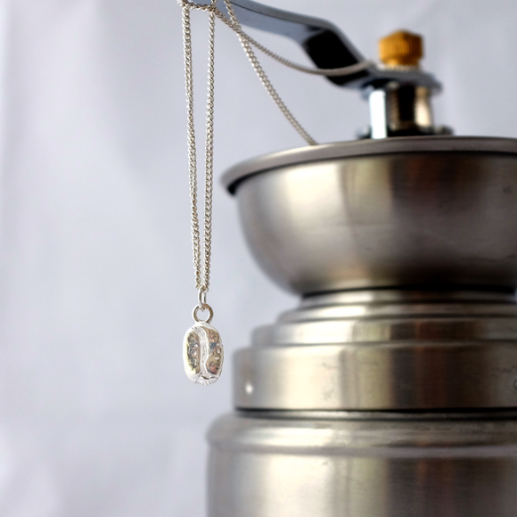 Silver Coffee Bean Necklace - Joy Everley Fine Jewellers, London
