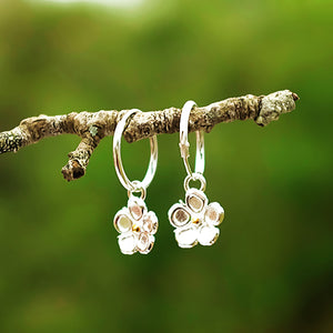 Strawberry Flowers on Silver Hoops by Joy Everley