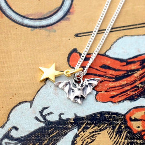 Silver Starry Night Bat Necklace by Joy Everley