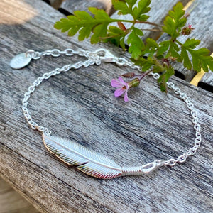 Silver Feather Bracelet or Necklace by Joy Everley