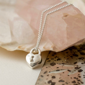 Silver Heart Padlock Charm Necklace