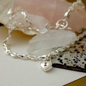 Silver Heart Padlock Seed Necklace & Bracelet by Joy Everley