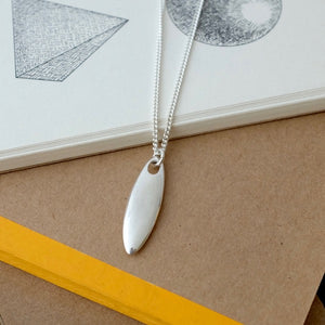 Silver Oval Tag Necklace