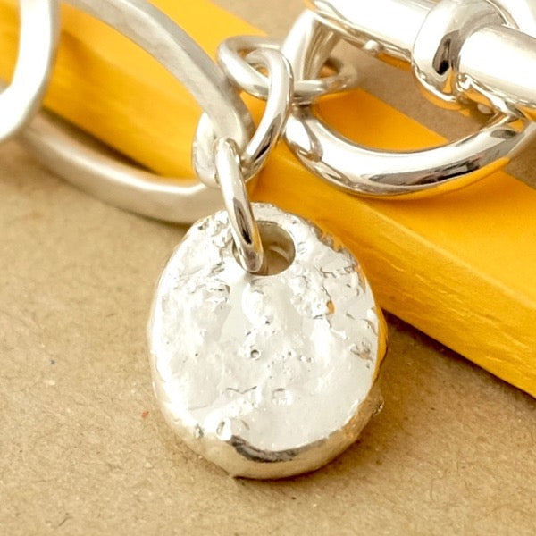 Silver Rough Pebble Charm by Joy Everley