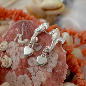 Silver Seahorse & Smooth Heart Earrings by Joy Everley