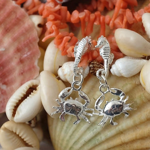 Silver Seahorse and Crab Earrings by Joy Everley