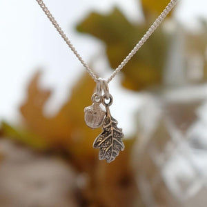 Small Acorn and Dark Oak Leaf Necklace - Joy Everley Fine Jewellers, London