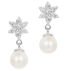 Pearl Crystal Flower Earrings