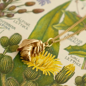 Solid Gold Bumble Bee Necklace by Joy Everley