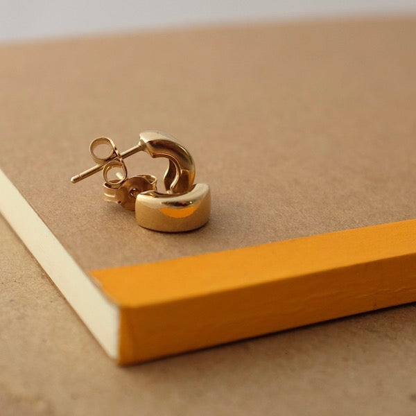 Solid Gold or Silver Little Chunky Hoops by Joy Everley