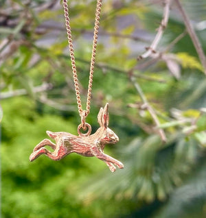 Solid Gold Running Hare Charm and Necklace by Joy Everley