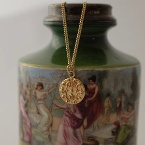 Solid Gold Baroque Disc Pendant by Joy Everley