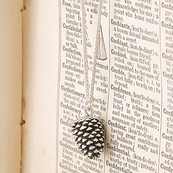 Large Silver Pinecone Necklace