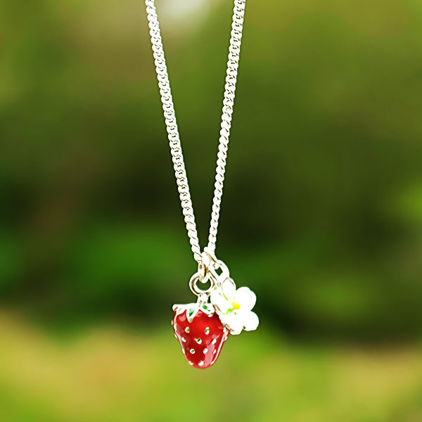 Enamel Strawberry and Flower Necklace