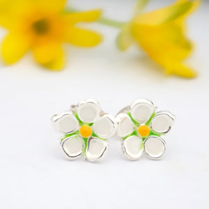Strawberry Flower Silver & Enamel Ear Studs by Joy Everley