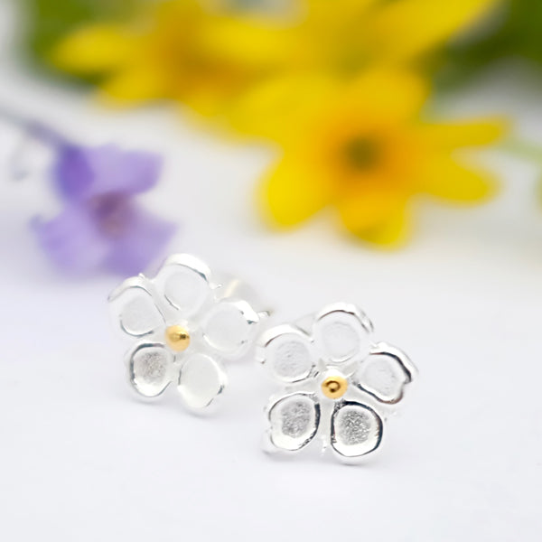 Strawberry Flower Silver Ear Studs by Joy Everley