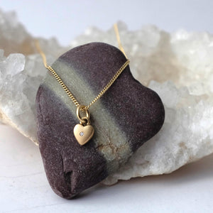 Solid Gold Tiny Smooth Heart Necklace or Charm by Joy Everley