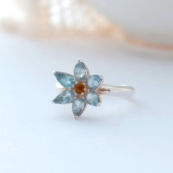 Small Topaz Flower Ring