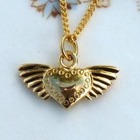 Vermeil Winged Heart Necklace