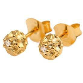 Vermeil Diamond Peppercorn Ear Studs