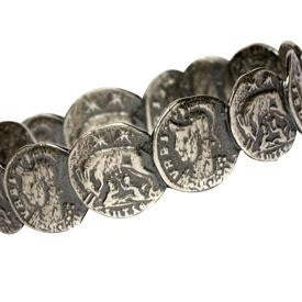 Dark silver roman coin bangle close view