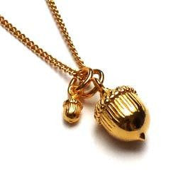 Two Vermeil Acorns Necklace