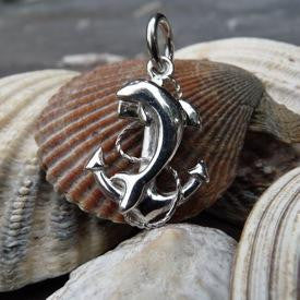 Silver Dolphin and anchor charm