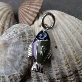 Silver and enamel fish charm