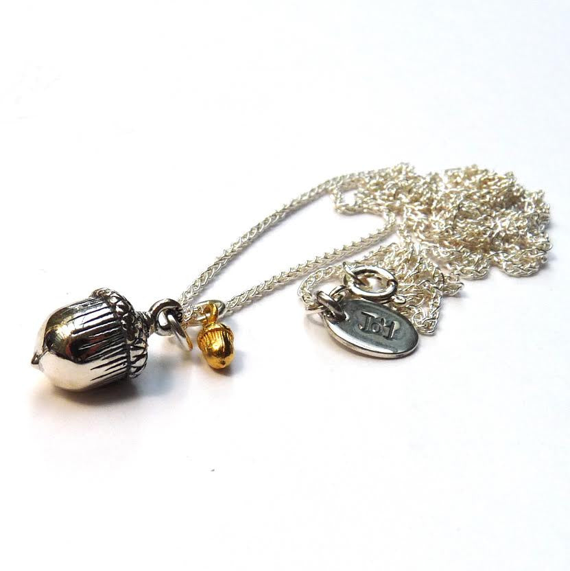Silver Acorn and Tiny Vermeil Acorn Necklace