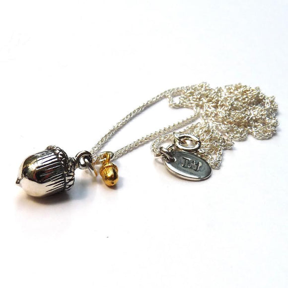 Silver Acorn and Tiny Gold Plated Acorn Necklace