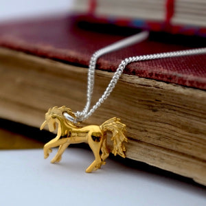 Golden Silver Unicorn Necklace by Joy Everley