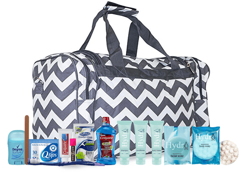 Maternity Hospital Labor Duffle Bag, Pre-packed Toiletry Bag - Chevron Grey