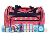 Maternity Hospital Labor Duffle Bag, Pre-packed Toiletry Bag - Feather Gold Coral