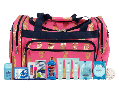 products/Feather_Pink_Gold_Duffle_w_toiletries.png