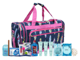 Maternity Hospital Labor Duffle Bag, Pre-packed Toiletry Bag - Feather Multi Pink