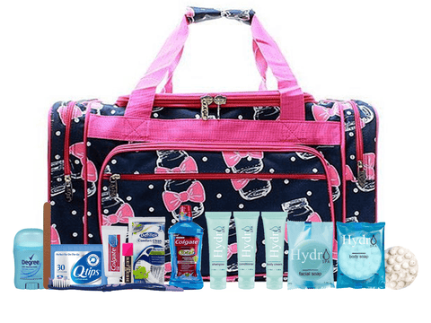 Maternity Hospital Labor Duffle Bag, Pre-packed Toiletry Bag - Mason Jar Pink Navy