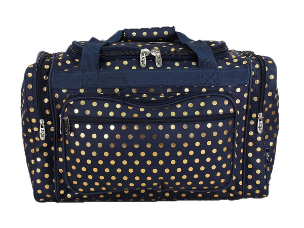 Maternity Hospital Labor Duffle Bag, Pre-packed Toiletry Bag - Polka Dots Gold Navy